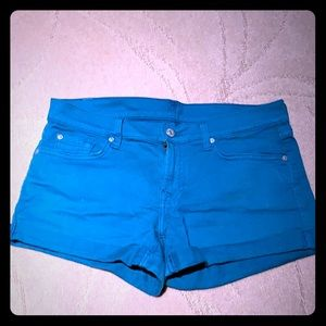 7 for all mankind Turquoise jean shorts